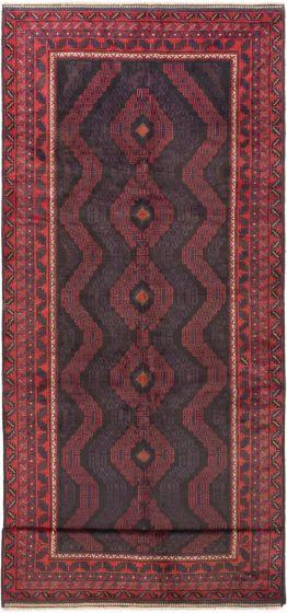 Bordered  Tribal Red Runner rug 14-ft-runner Afghan Hand-knotted 280337