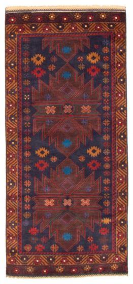 Geometric  Tribal Blue Runner rug 7-ft-runner Afghan Hand-knotted 367562