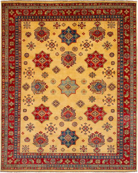 Bordered  Traditional Ivory Area rug 6x9 Afghan Hand-knotted 272481