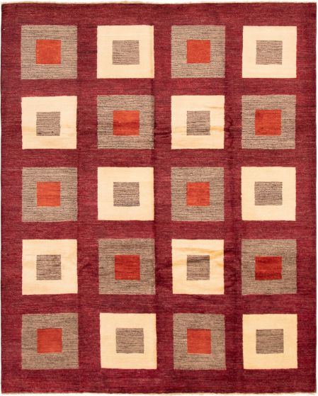 Casual  Transitional Red Area rug 6x9 Afghan Hand-knotted 293007