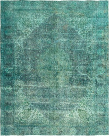 Bordered  Transitional Green Area rug 9x12 Turkish Hand-knotted 293080