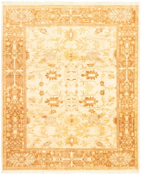Bordered  Traditional Ivory Area rug 6x9 Afghan Hand-knotted 318314