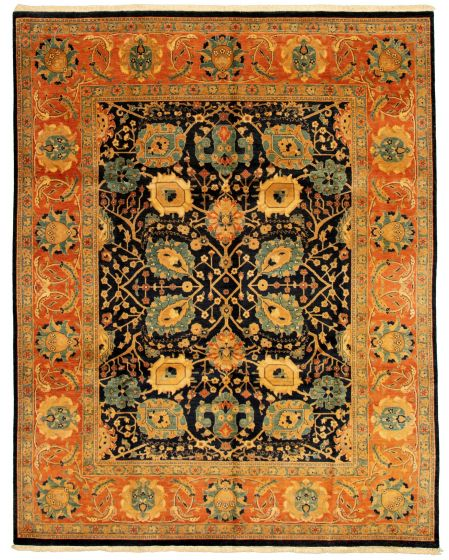 Bordered  Transitional Blue Area rug 6x9 Pakistani Hand-knotted 331180