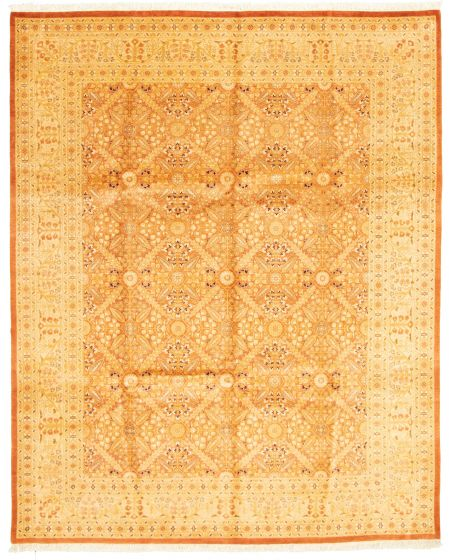 Bordered  Traditional Brown Area rug 6x9 Pakistani Hand-knotted 331297