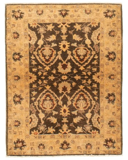 Bordered  Traditional Brown Area rug 3x5 Afghan Hand-knotted 331300