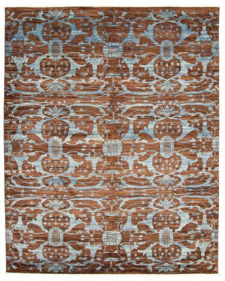 Casual  Transitional Brown Area rug 6x9 Pakistani Hand-knotted 338749