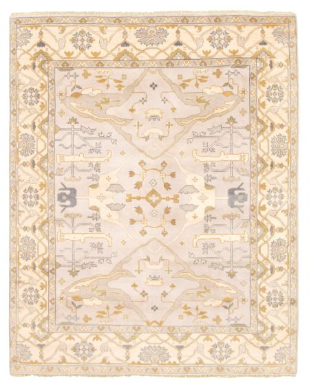 Bordered  Traditional Grey Area rug 6x9 Indian Hand-knotted 344802