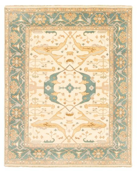 Bordered  Traditional Ivory Area rug 6x9 Indian Hand-knotted 344820