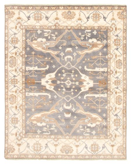 Bordered  Traditional Grey Area rug 6x9 Indian Hand-knotted 344885