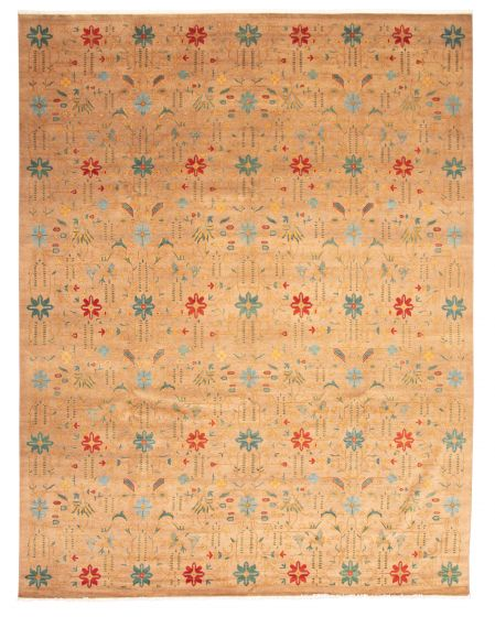Floral  Traditional Brown Area rug 12x15 Pakistani Hand-knotted 345236