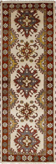 Traditional Ivory Runner rug 8-ft-runner Indian Hand-knotted 233315