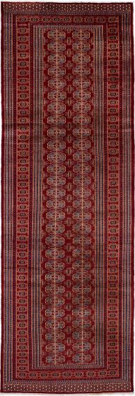 Bordered  Traditional Red Runner rug 9-ft-runner Russia Hand-knotted 274106