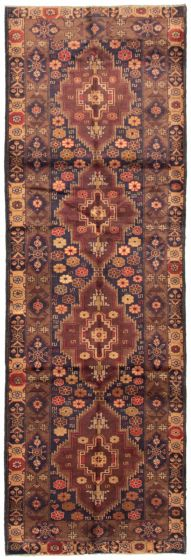 Bordered  Tribal Brown Runner rug 11-ft-runner Afghan Hand-knotted 342447