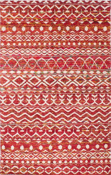 Transitional Red Area rug 5x8 Indian Hand-knotted 222211