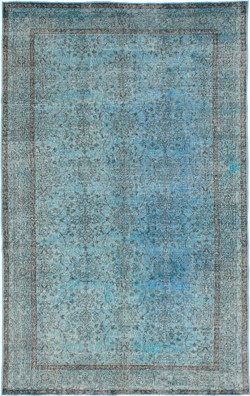 Transitional Blue Area rug 6x9 Turkish Hand-knotted 230304