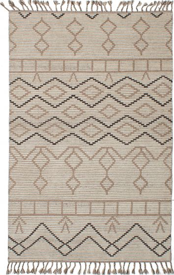 Traditional  Tribal Ivory Area rug 5x8 Indian Hand-knotted 230540