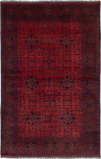 Traditional  Tribal Red Area rug 3x5 Afghan Hand-knotted 234602