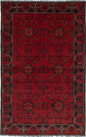 Traditional Red Area rug 3x5 Afghan Hand-knotted 236241