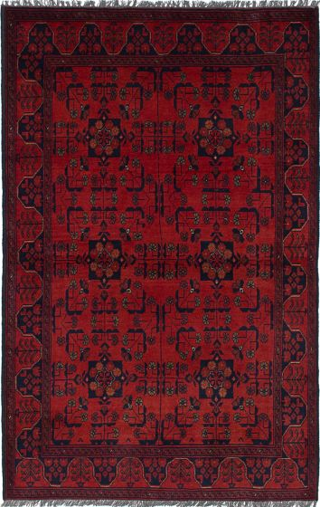 Traditional Red Area rug 4x6 Afghan Hand-knotted 236251