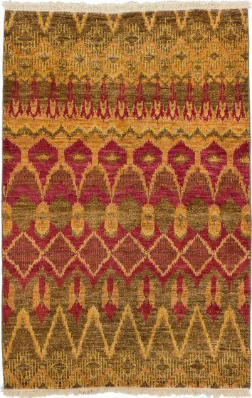 Casual  Transitional Red Area rug 3x5 Indian Hand-knotted 280164