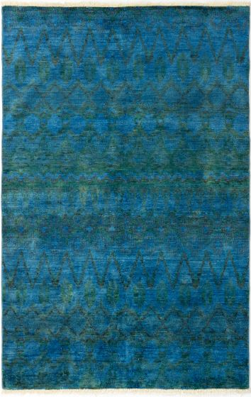 Moroccan  Transitional Blue Area rug 5x8 Indian Hand-knotted 280657