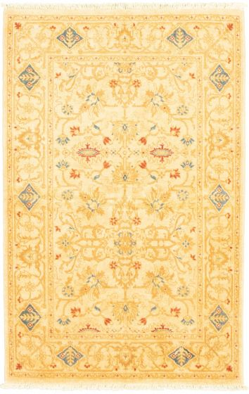 Bordered  Traditional Ivory Area rug 3x5 Afghan Hand-knotted 318405