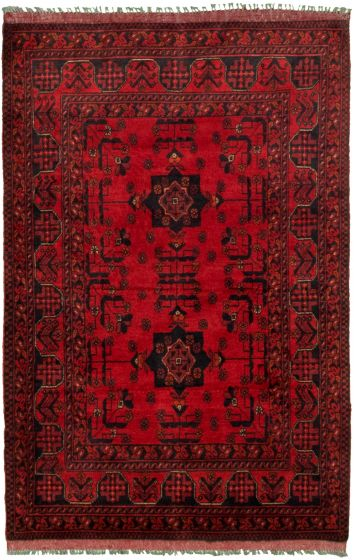 Bordered  Tribal Red Area rug 3x5 Afghan Hand-knotted 330265