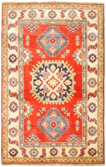 Bordered  Traditional Red Area rug 3x5 Afghan Hand-knotted 330274