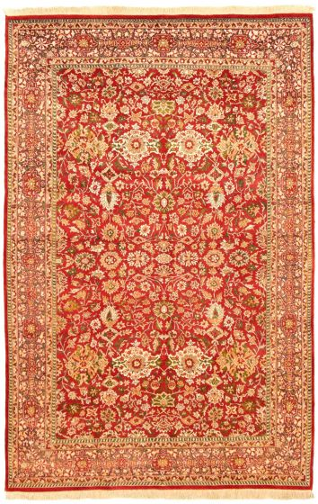 Bordered  Traditional Red Area rug 5x8 Pakistani Hand-knotted 330520