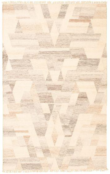 Flat-weaves & Kilims  Tribal Ivory Area rug 5x8 Turkish Flat-weave 341228