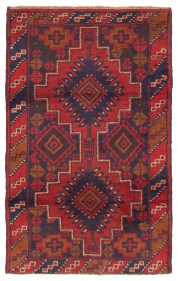 Bordered  Tribal Red Area rug 3x5 Afghan Hand-knotted 357513