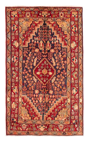 Bordered  Traditional Blue Area rug 4x6 Persian Hand-knotted 358634