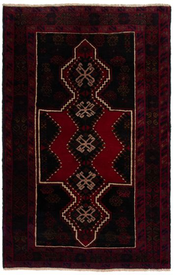 Bordered  Tribal Red Area rug 3x5 Afghan Hand-knotted 360601