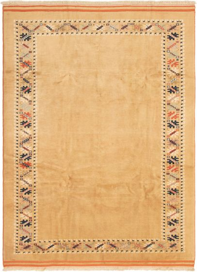 Bordered  Traditional Brown Area rug 6x9 Turkish Hand-knotted 293197