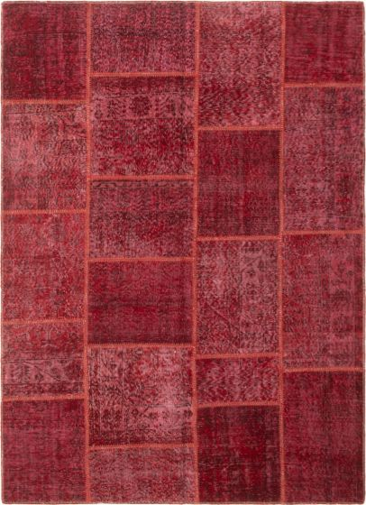Casual  Transitional Red Area rug 5x8 Turkish Hand-knotted 296076