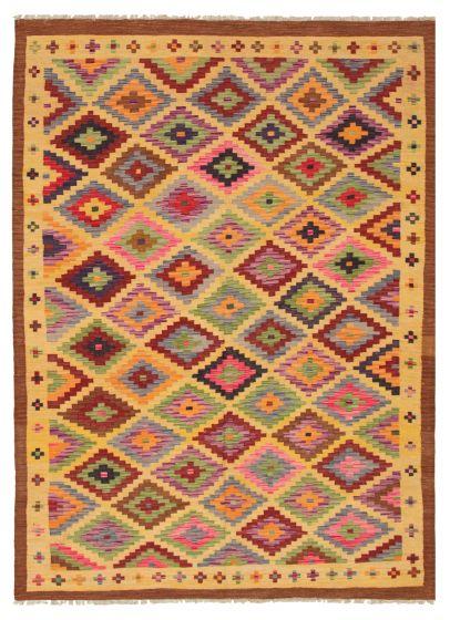 Bordered  Geometric Yellow Area rug 6x9 Turkish Flat-weave 316237