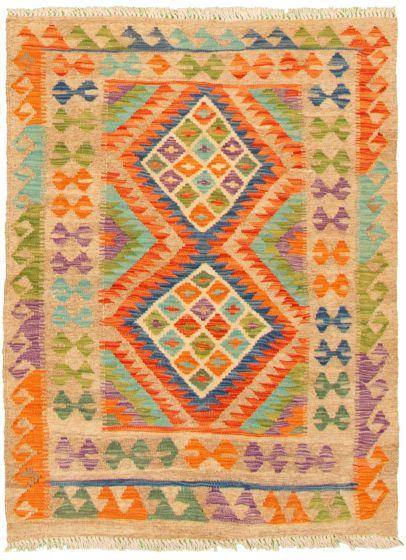Bordered  Geometric Multi Area rug 3x5 Turkish Flat-weave 330224