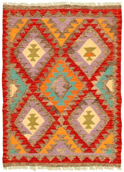 Bordered  Geometric Grey Area rug 3x5 Turkish Flat-weave 330230