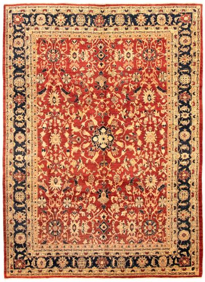 Bordered  Traditional Red Area rug 9x12 Afghan Hand-knotted 330589