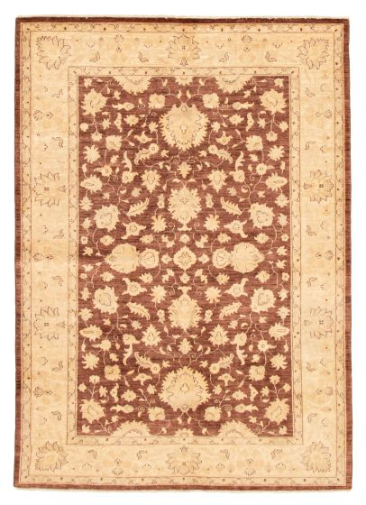 Bordered  Traditional Brown Area rug 5x8 Afghan Hand-knotted 331596