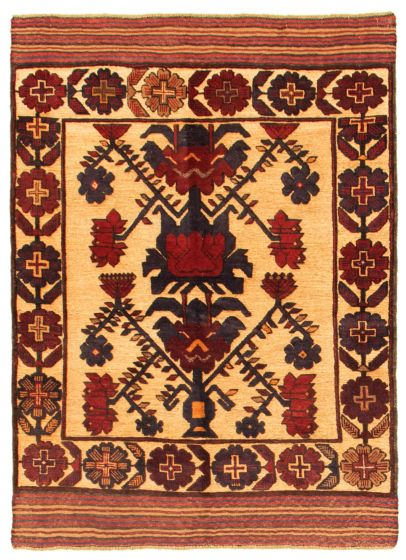 Bordered  Tribal Brown Area rug 3x5 Afghan Hand-knotted 342613