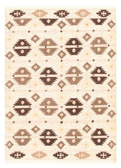 Flat-weaves & Kilims  Traditional Ivory Area rug 5x8 Turkish Flat-weave 344439