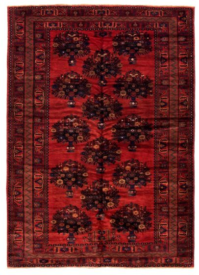 Bordered  Tribal Red Area rug 6x9 Afghan Hand-knotted 348542