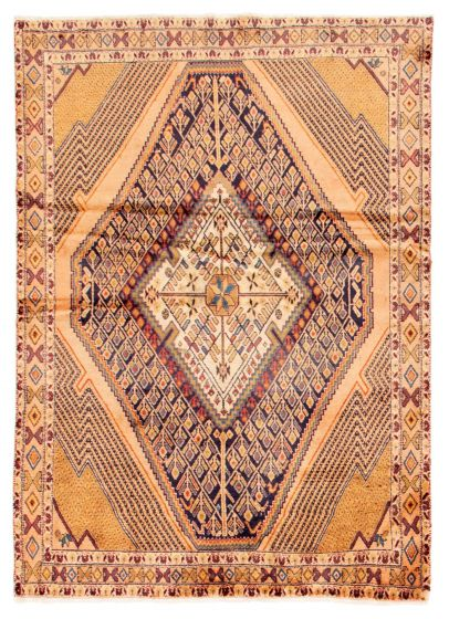 Bordered  Traditional Ivory Area rug 4x6 Turkish Hand-knotted 353683