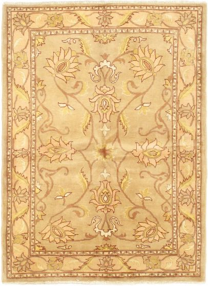 Traditional Ivory Area rug 4x6 Afghan Hand-knotted 36671