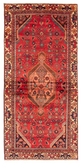 Bordered  Traditional Red Runner rug 10-ft-runner Persian Hand-knotted 358599