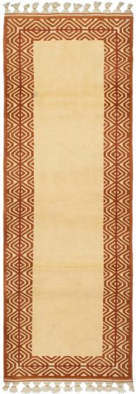 Bordered  Traditional Ivory Runner rug 8-ft-runner Turkish Hand-knotted 293704