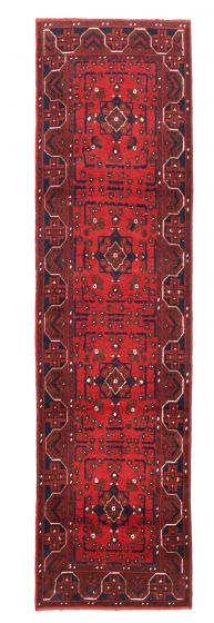 Bordered  Tribal Red Runner rug 10-ft-runner Afghan Hand-knotted 342282