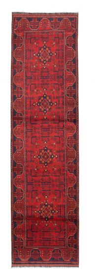 Bordered  Traditional Red Runner rug 10-ft-runner Afghan Hand-knotted 342308