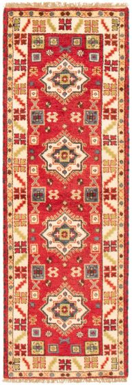 Bordered  Traditional Red Runner rug 8-ft-runner Indian Hand-knotted 364363
